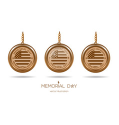 Golden medallions set for memorial day in usa vector