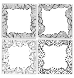 Set of hand drawn artistic black frames vector