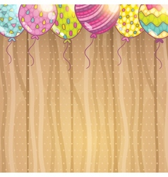 Cute cartoon happy birthday card with balloons vector