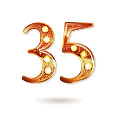 35 years gold anniversary celebration logo vector