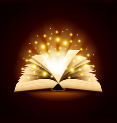 Old opened book with magic light background vector