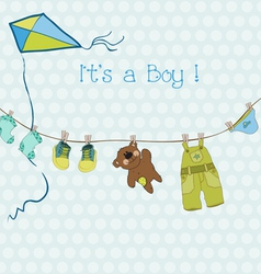 baby boy shower or arrival card with place for you vector image