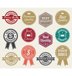 Set of retro quality and price guarantee tag vector