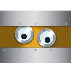 Eyes over metal background vector