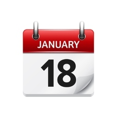 January 18 flat daily calendar icon date vector