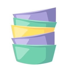 Bowls soup pile composition in merging color flat vector