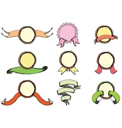 9 colored ribbons and labels hand drawing vector