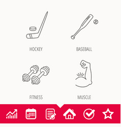 Baseball ice hockey and fitness sport icons vector