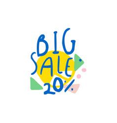 Big sale 20 percent off logo template special vector