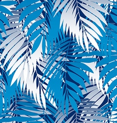 Blue palm leaves in a seamless pattern vector image vector image