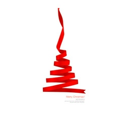 Christmas tree from Shiny red ribbon on white vector image vector image