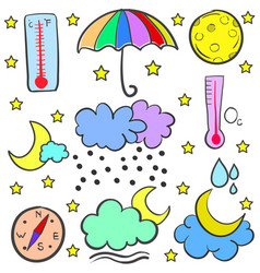 Collection of weather set doodles vector