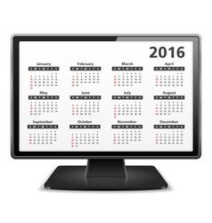 Computer with 2016 calendar vector