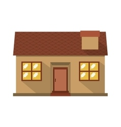 facade confortable house with chimney vector image vector image