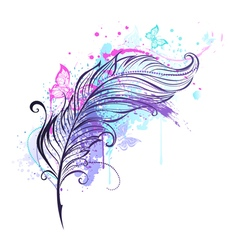 Feather with Butterflies vector image vector image