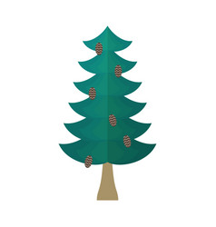 Fir with cones isolated fir-tree on white vector