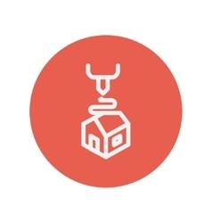 Futuristic 3D printer thin line icon vector image