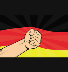 Germany fight protest symbol with strong hand and vector
