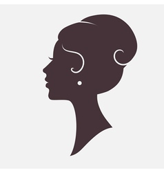 Girl Face Silhouette with Stylish Hairstyle vector image vector image