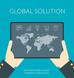 Global solution flat design concept Hand of the vector image