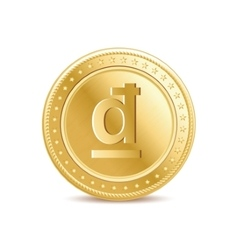 Golden isolated dong coin on the white background vector image