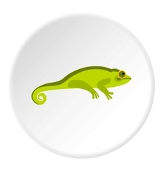 Green chameleon icon flat style vector