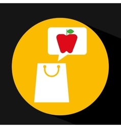 Grocery shopping bag apple fruit design vector