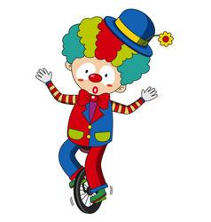Happy clown riding on wheel vector
