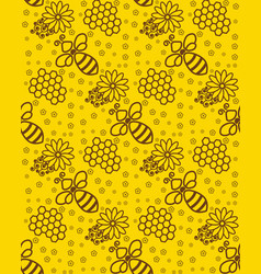 Honey pattern wallpaper with a bee background for vector