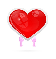 Human Hands Holding Red Heart vector image vector image