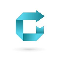 Letter C arrow ribbon logo icon design template vector image