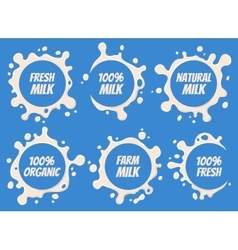 Milk Logo and Labels Designs with Lettering Set vector image