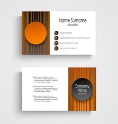 Modern business card with black orange round vector