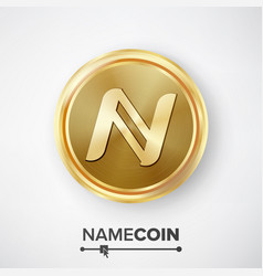 Namecoin gold coin realistic crypto vector