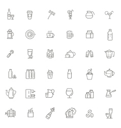 Outline web icon set - drink coffee tea alcohol vector image vector image
