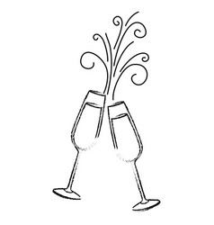 Pair of champagne glass cheers drink sparkles vector