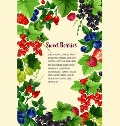 poster of fresh sweet berries vector image vector image