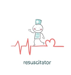 resuscitation is on the line showing the beating vector image vector image