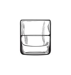 Scotch whiskey rum brandy shot glass vector
