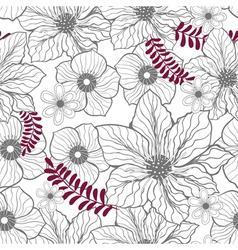 Seamless floral gray pattern vector image