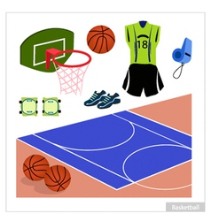 Set of basketball equipment on white background vector