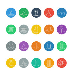 Set of icons with chemical laboratory equipment vector