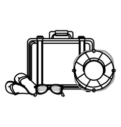 suitcase travel with float isolated icon vector image