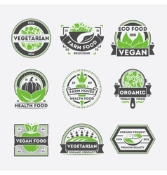 Vegetarian food vintage isolated label set vector image vector image