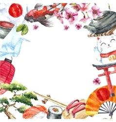 Watercolor set of japan vector