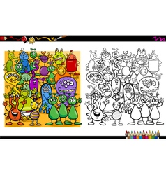 alien characters coloring book vector image