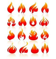 Fire flames redish set icons vector image