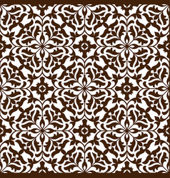 Damask seamless floral pattern with brown flowers vector