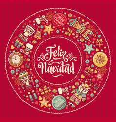 Feliz navidad xmas card on spanish language warm vector