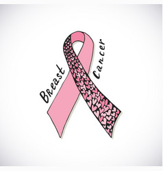 Breast cancer with ornate pink ribbon with harts vector